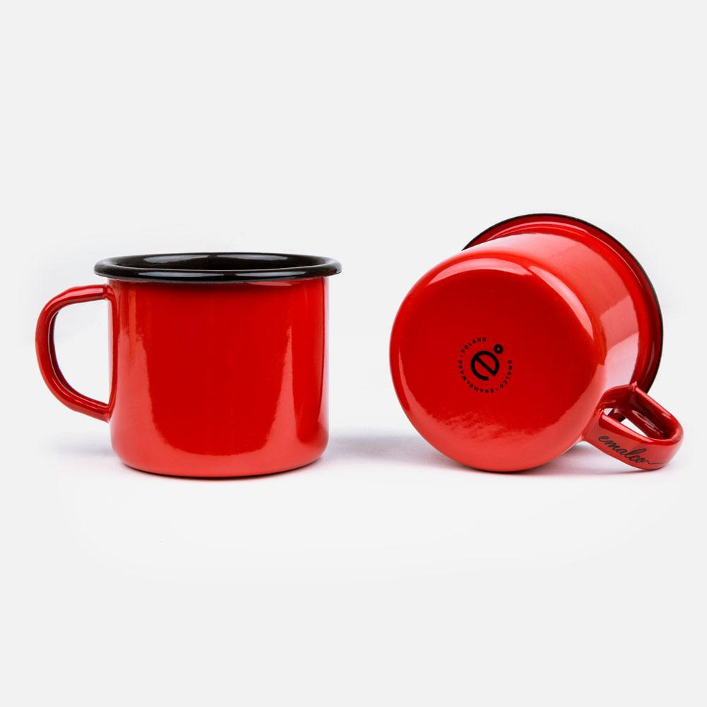 KEYWAY | Emalco - Plain Coral Enamel Mug, Handcrafted by Artisans in Poland, Bottom View