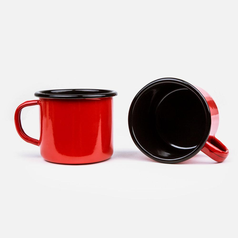 KEYWAY | Emalco - Plain Coral Enamel Mug, Handcrafted by Artisans in Poland, Inside View