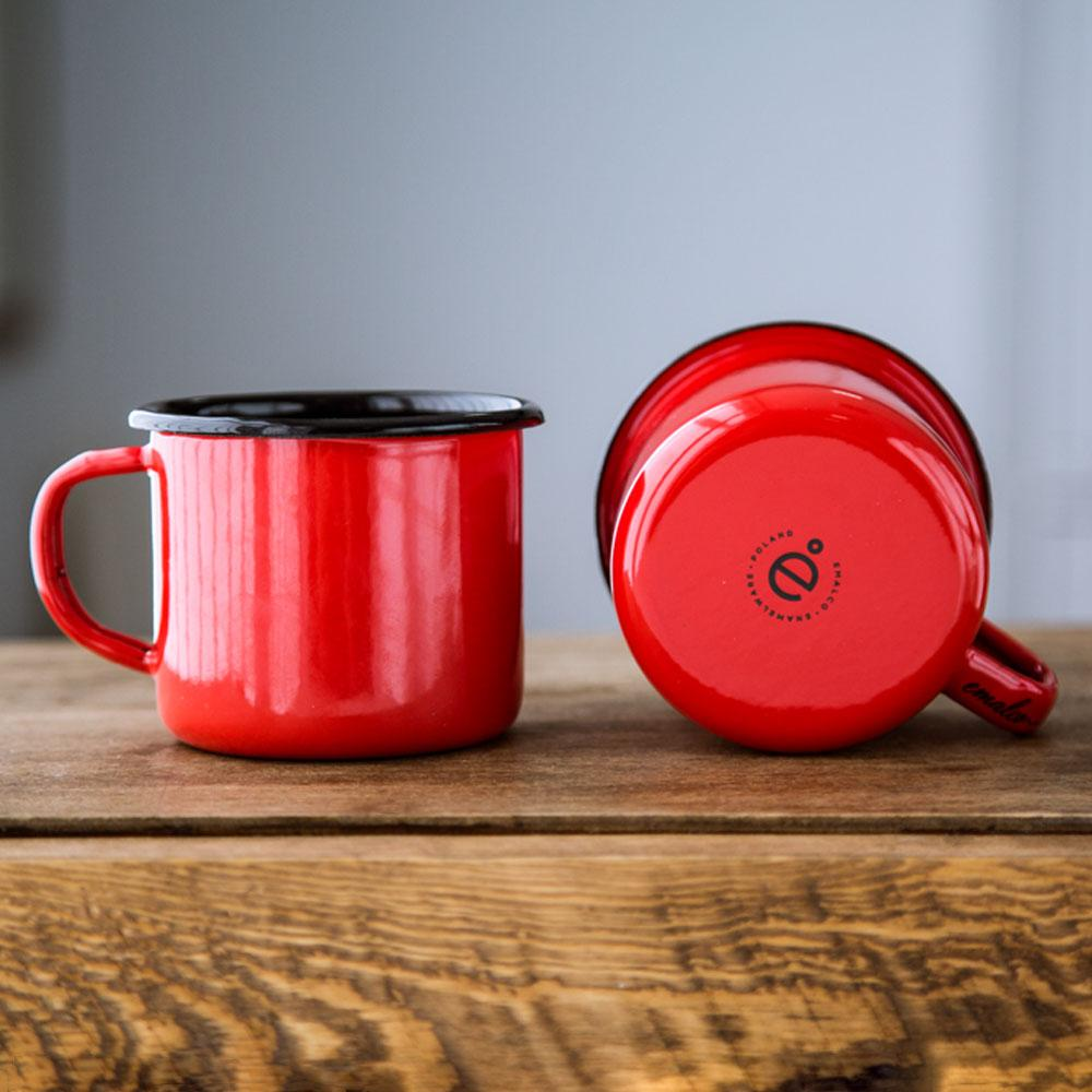 KEYWAY | Emalco - Plain Coral Enamel Mug, Handcrafted by Artisans in Poland, Bottom Double View