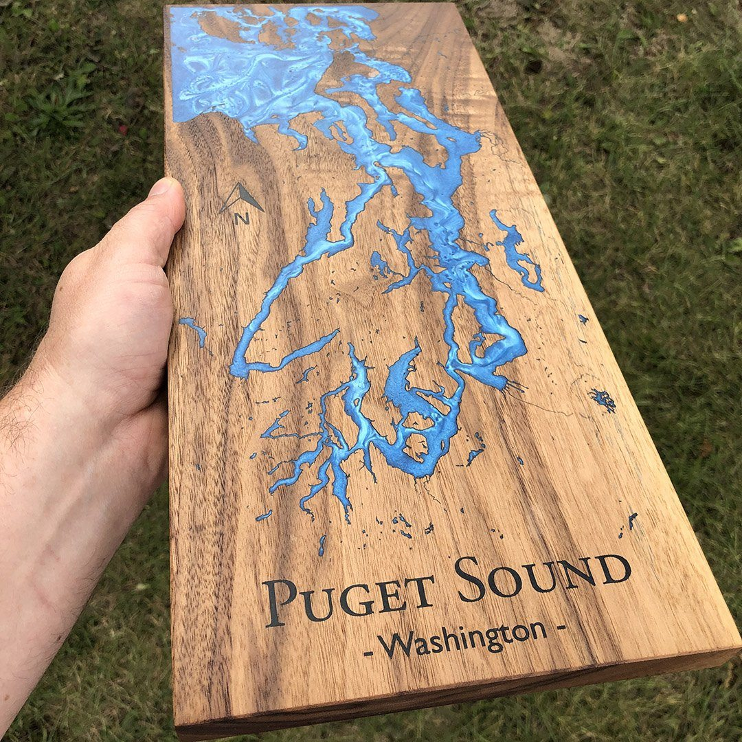 Custom Lake Sign engraved by Keyway Designs on Walnut with Blue Epoxy