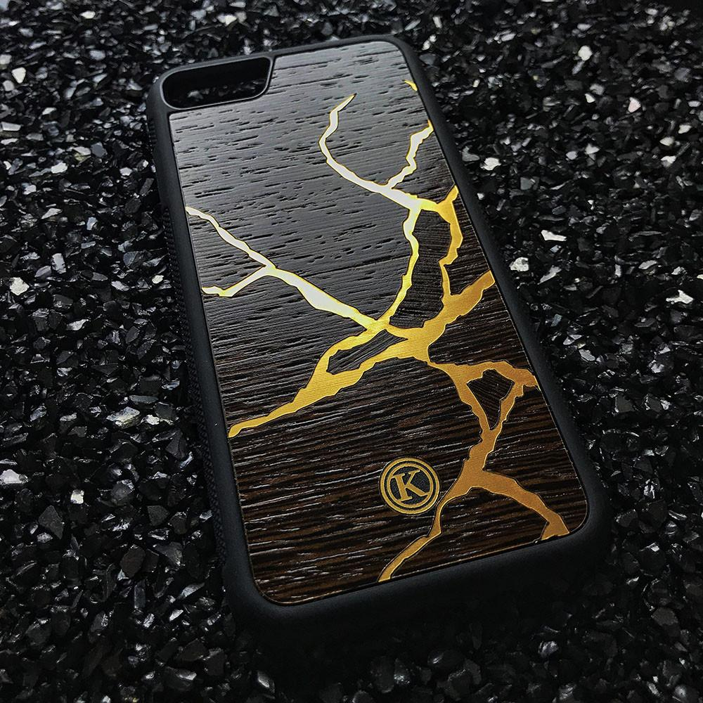 Zoomed in detailed shot of the Kintsugi inspired Gold and Wenge Wood iPhone 6 Plus Case by Keyway Designs