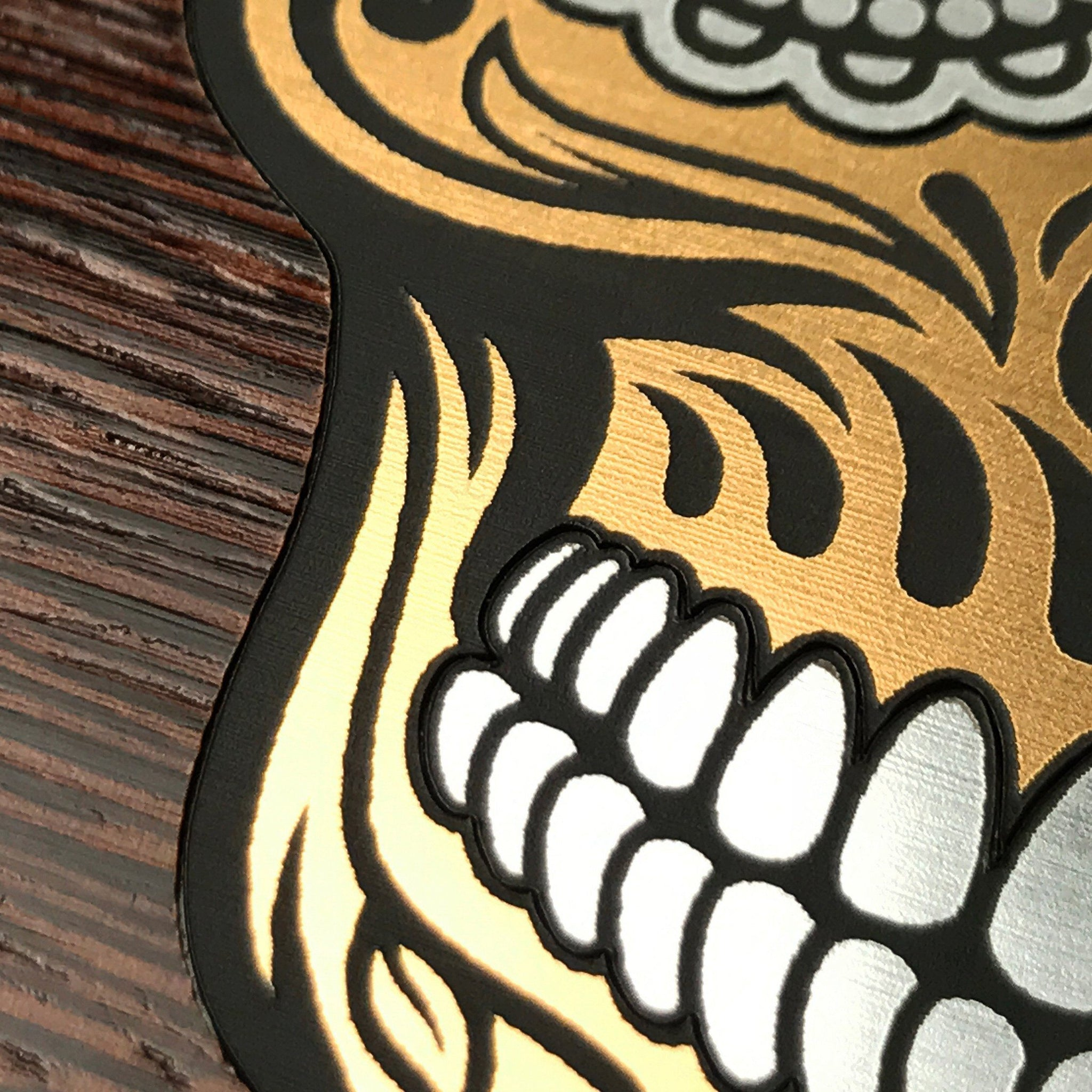 Zoomed in detailed shot of the Calavera Wood Sugar Skull Wood Galaxy S10+ Case by Keyway Designs