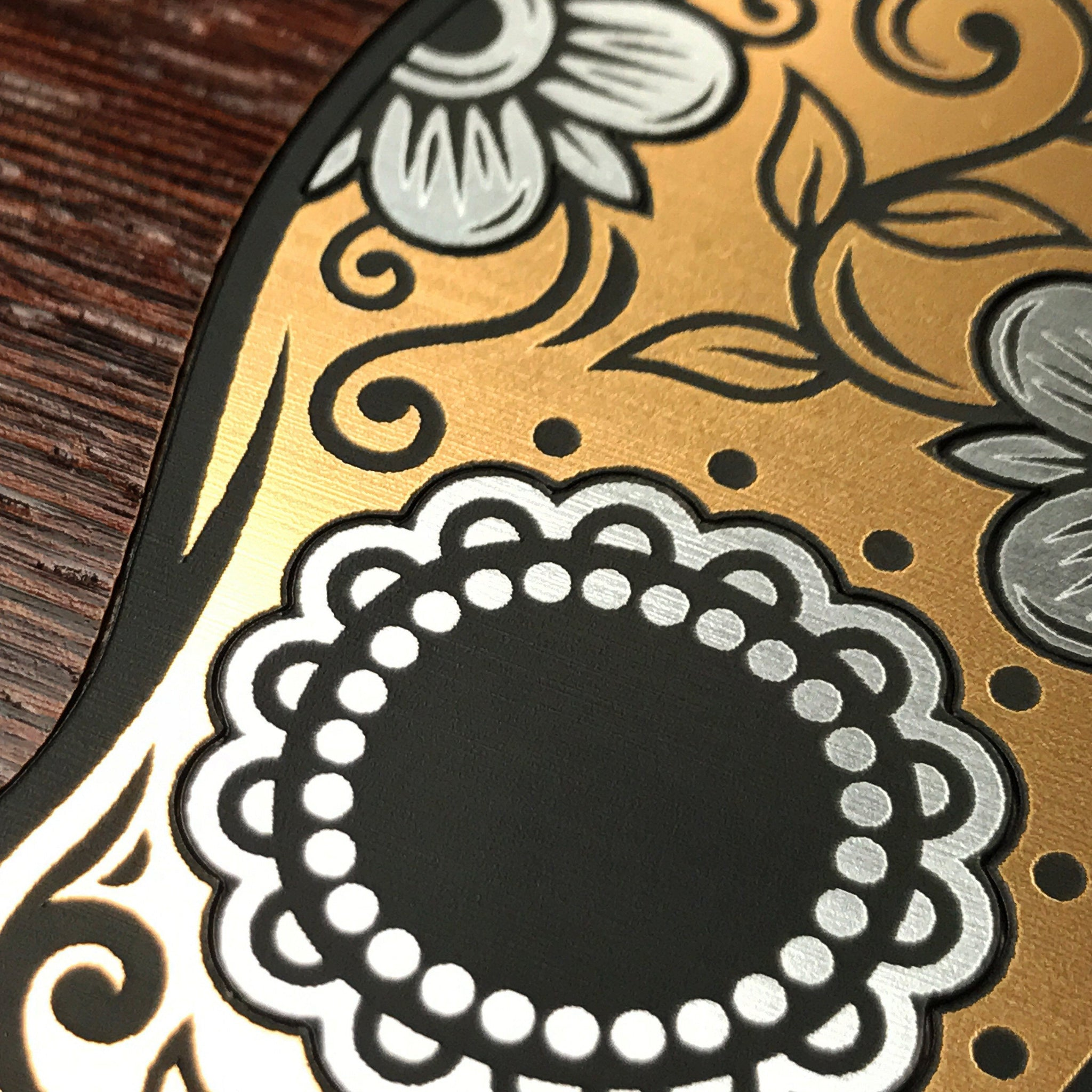 Zoomed in detailed shot of the Calavera Wood Sugar Skull Wood iPhone XR Case by Keyway Designs