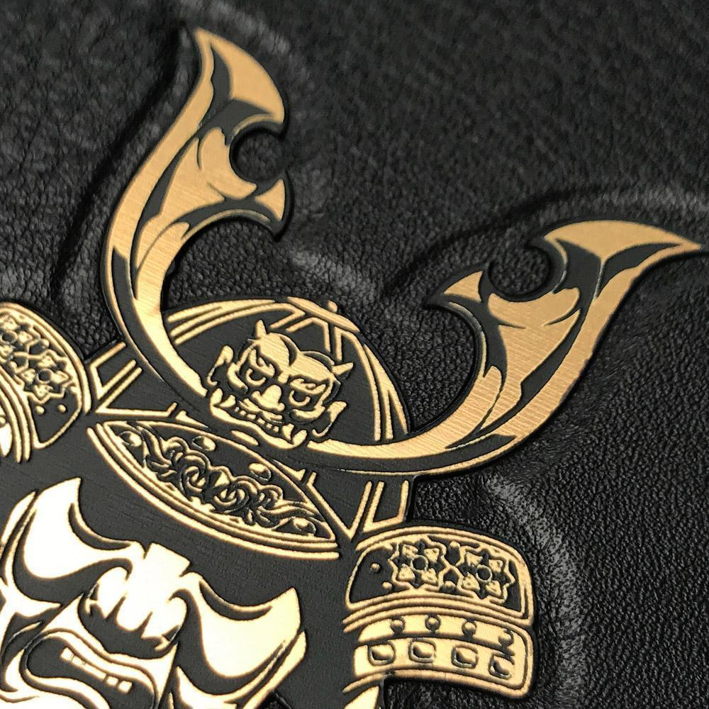 Zoomed in detailed shot of the Samurai Black Leather iPhone 11 Pro Max Case by Keyway Designs