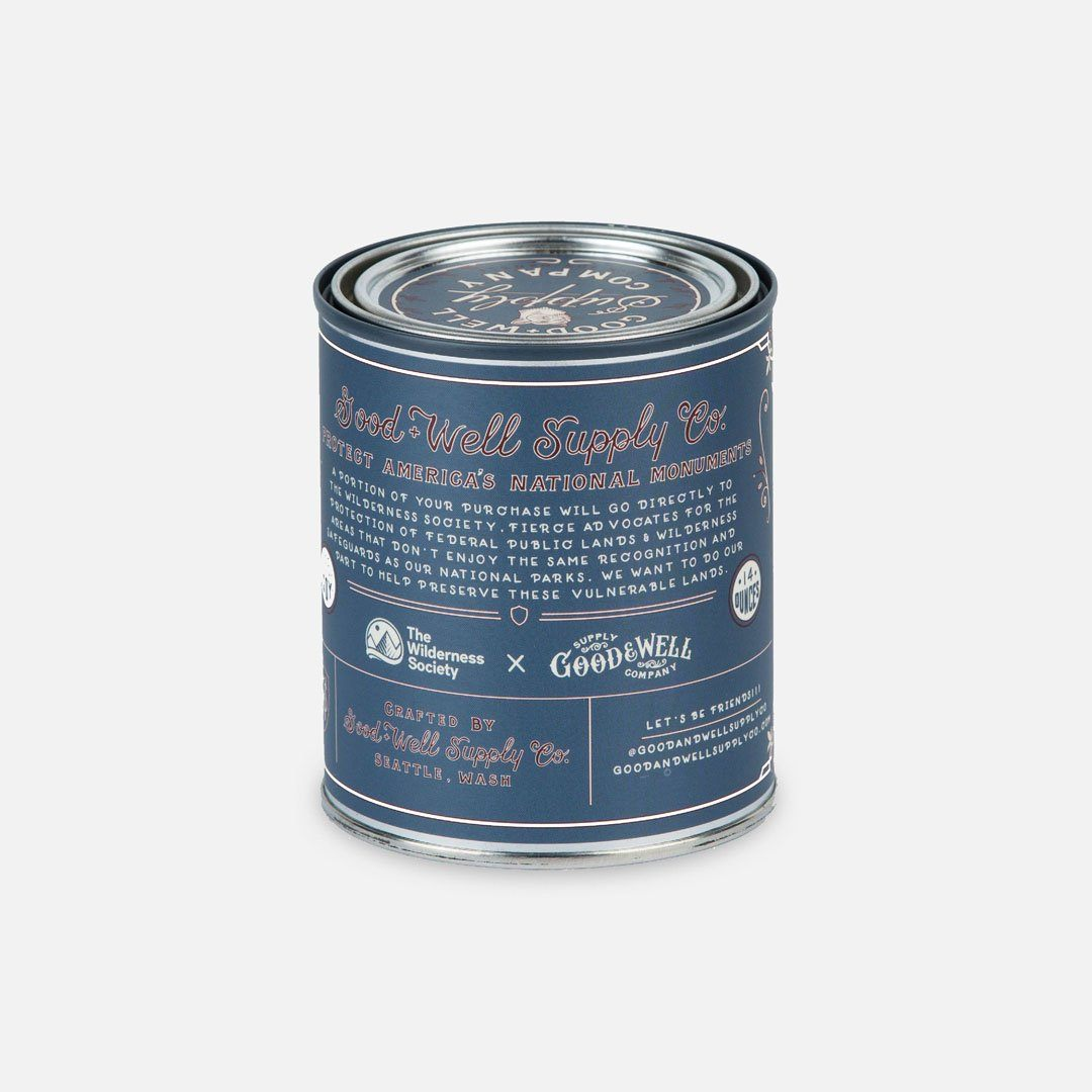 Back Panel - The San Gabriel Mountains National Monument Candle from Good & Well Supply Co.