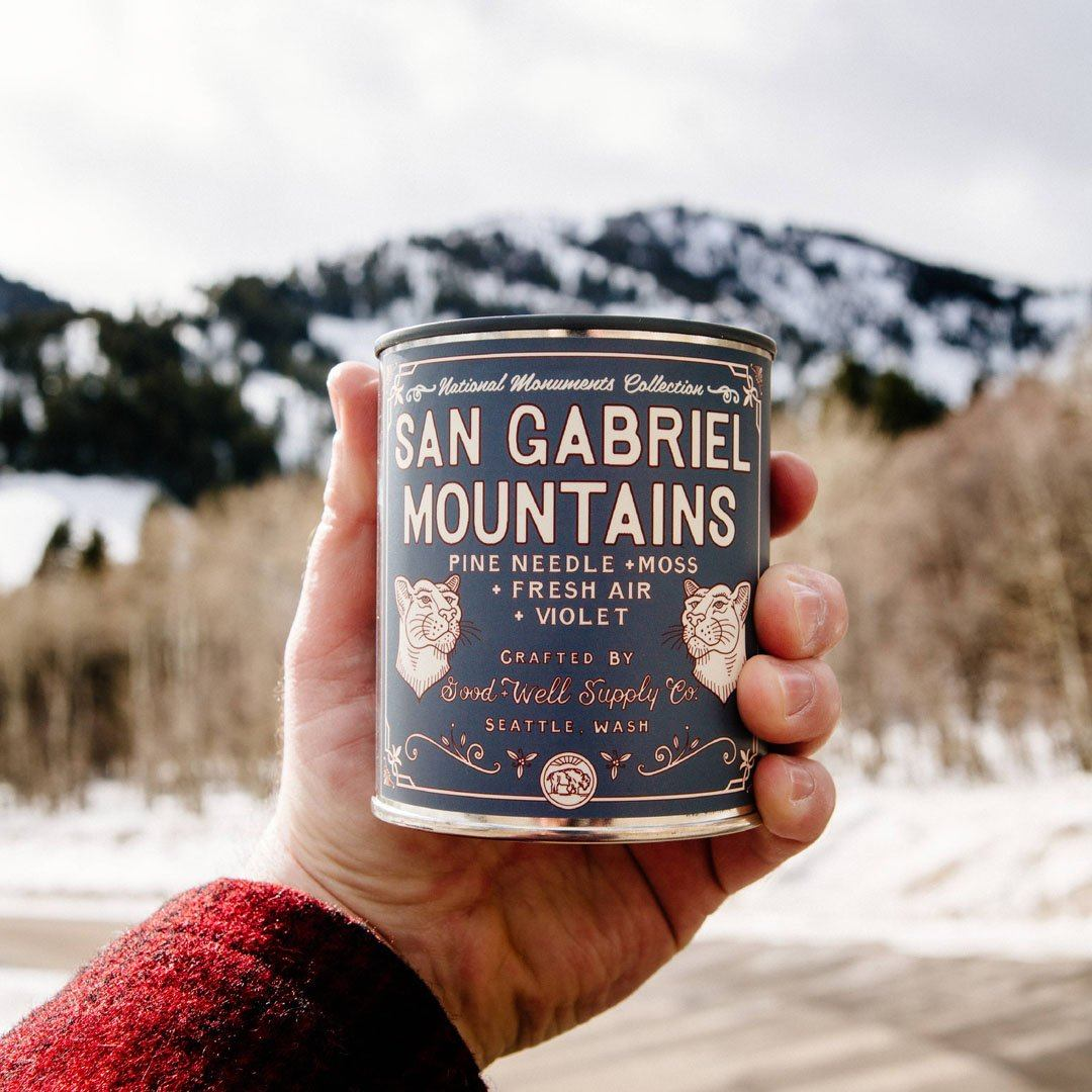 The San Gabriel Mountains National Monument Candle from Good & Well Supply Co. in the Wild.
