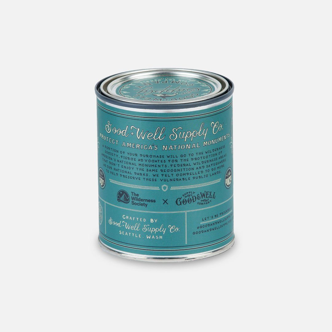 Back Panel - The San Juan Islands National Monument Candle from Good & Well Supply Co.