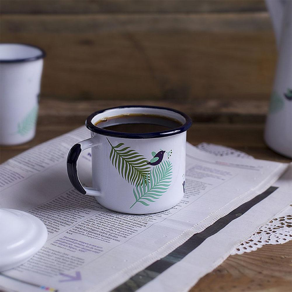 KEYWAY | Emalco - Classic Spring Enamel Mug, Handcrafted by Artisans in Poland, Usage View