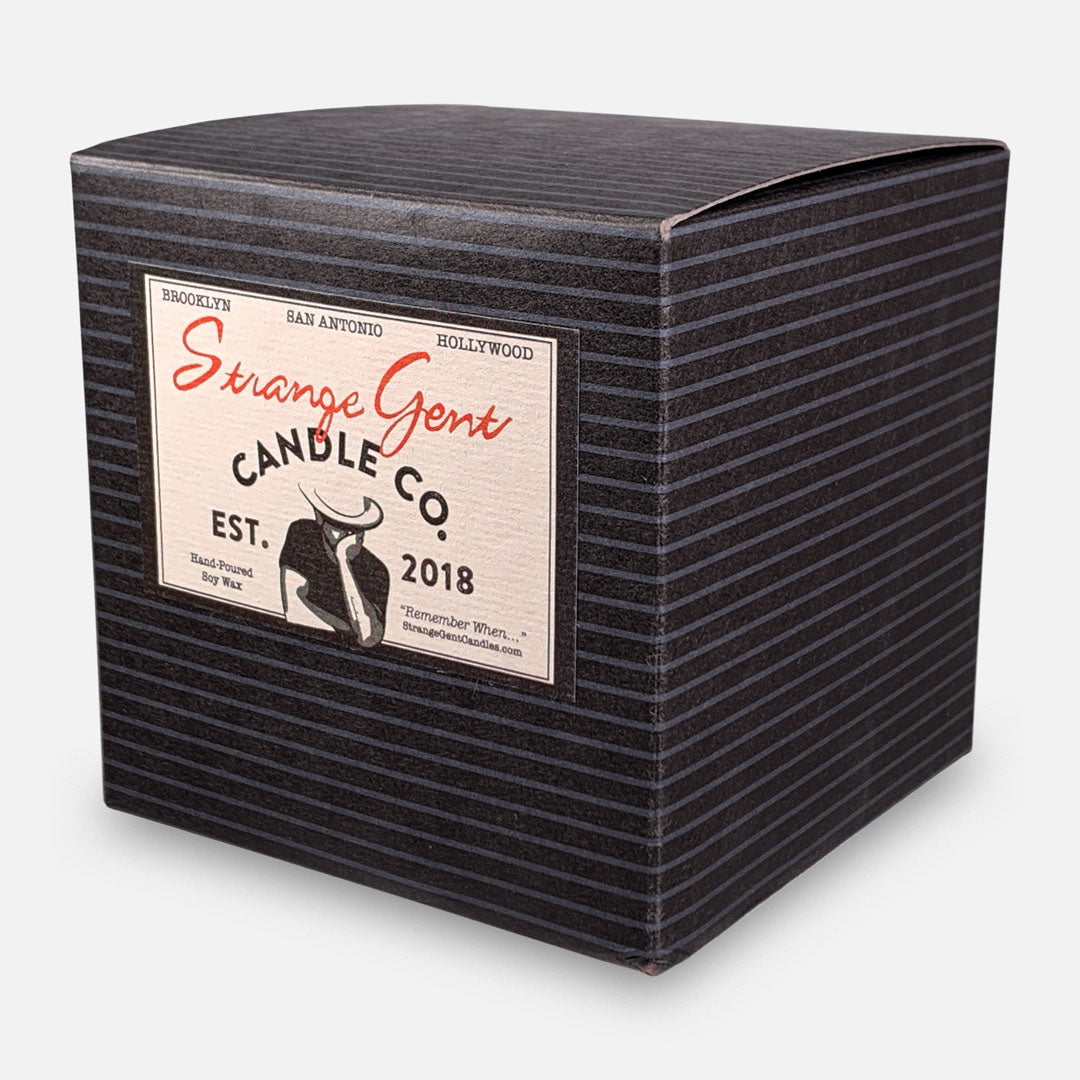 Strange Gent - Strange Gentleman 8oz Soy Wax Jar Candle, Made in LA, California. Packaging