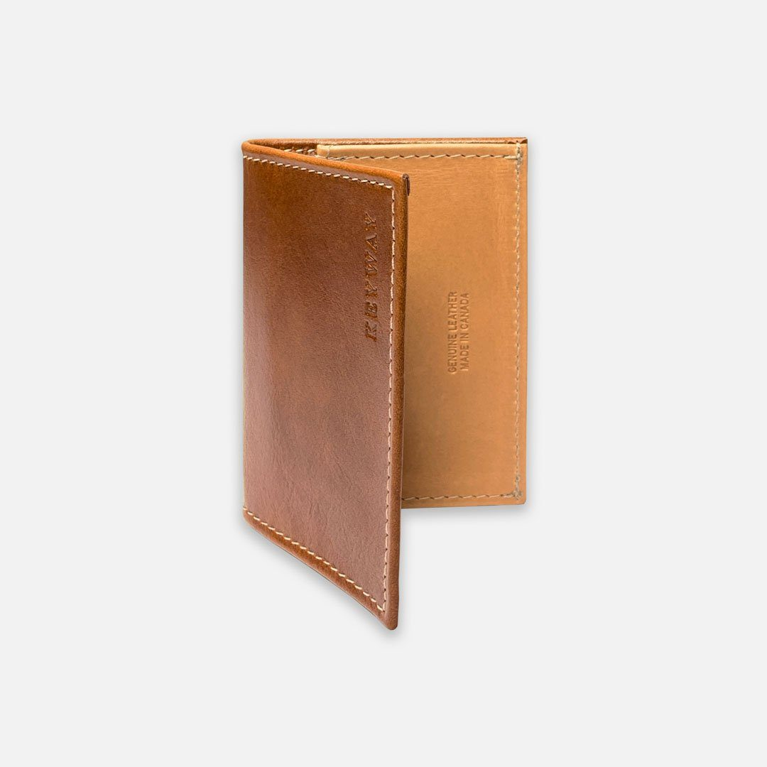Keyway Full-grain Leather Card Holder, Whiskey, front