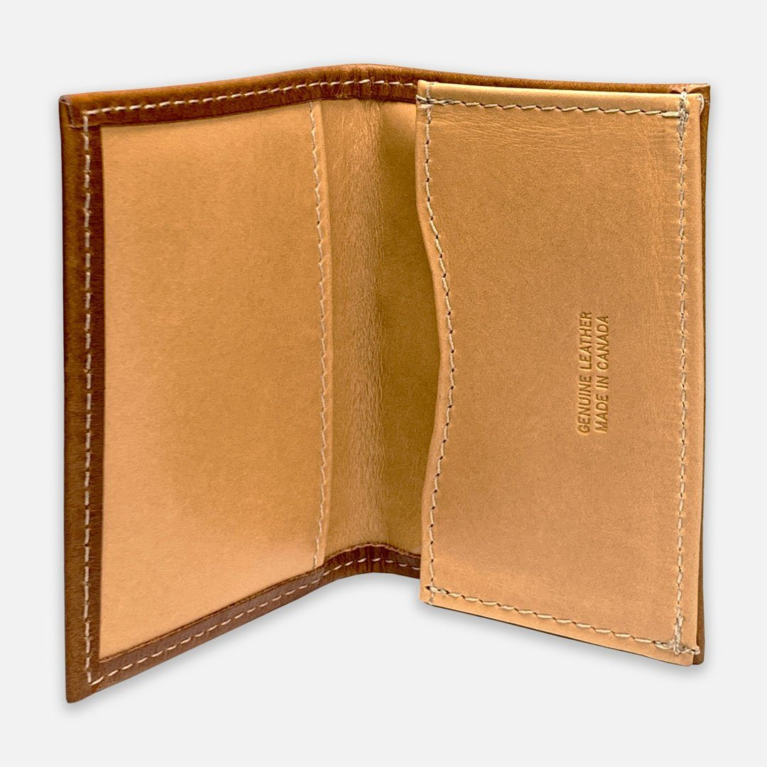 Keyway Full-grain Leather Card Holder, Whiskey, inside view of card slots