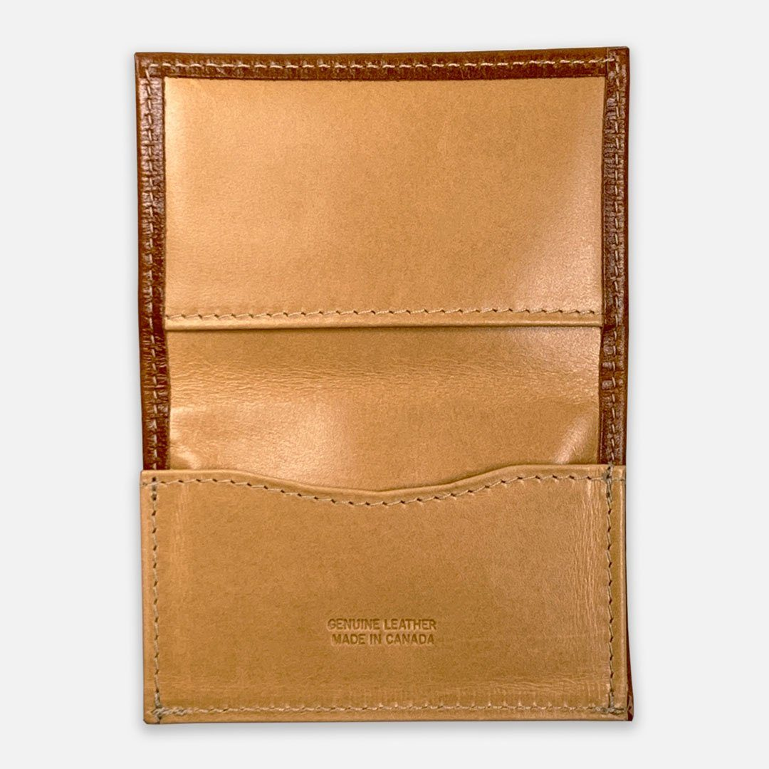 Keyway Full-grain Leather Card Holder, Whiskey, flat inside view