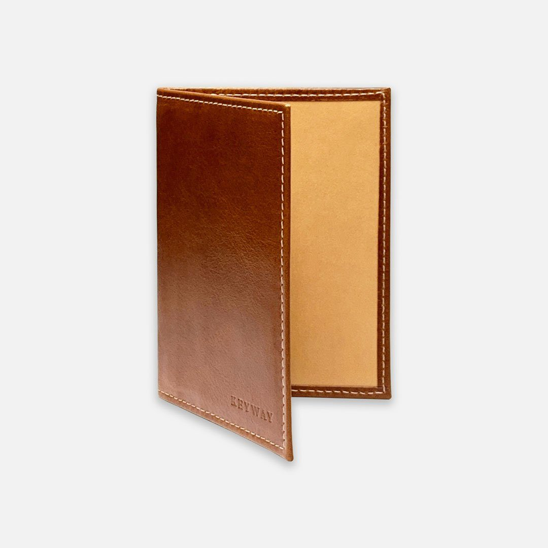 Keyway Full-grain Leather Passport Wallet, Whiskey, front