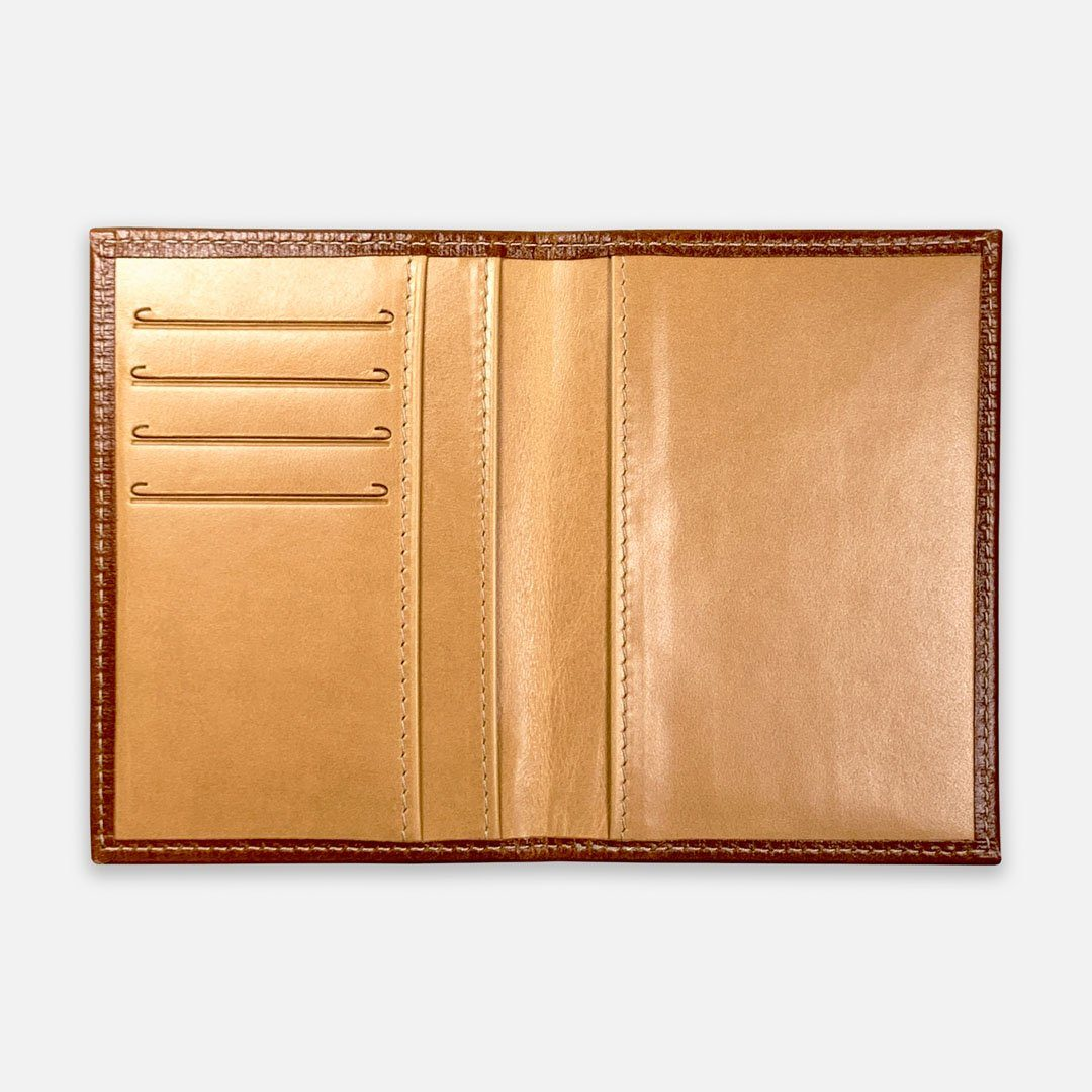 Keyway Full-grain Leather Passport Wallet, Whiskey, flat open view