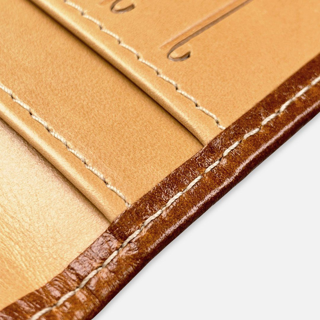 Keyway Full-grain Leather Passport Wallet, Whiskey, detailed view of stitching