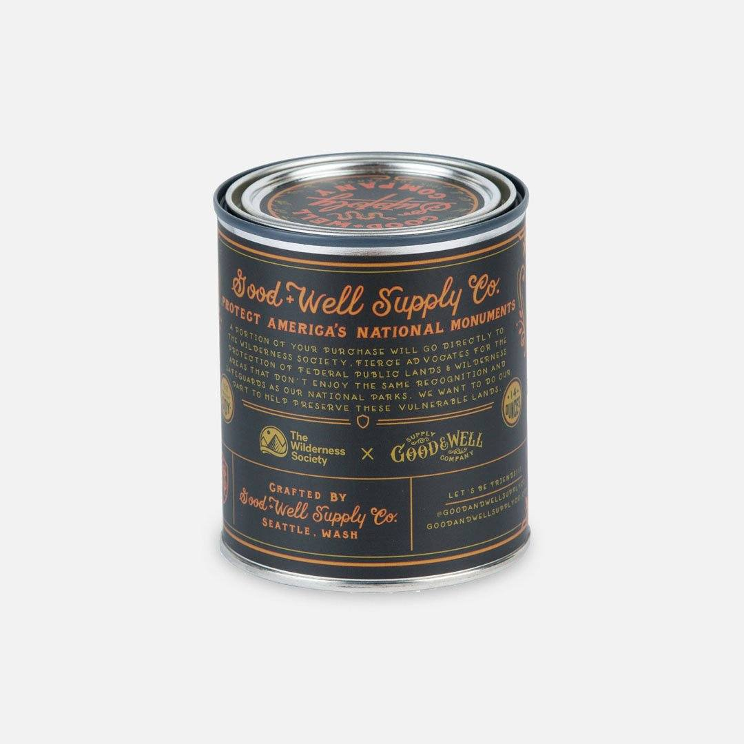 Back Panel - The Vermillion Cliffs National Monument Candle from Good & Well Supply Co.