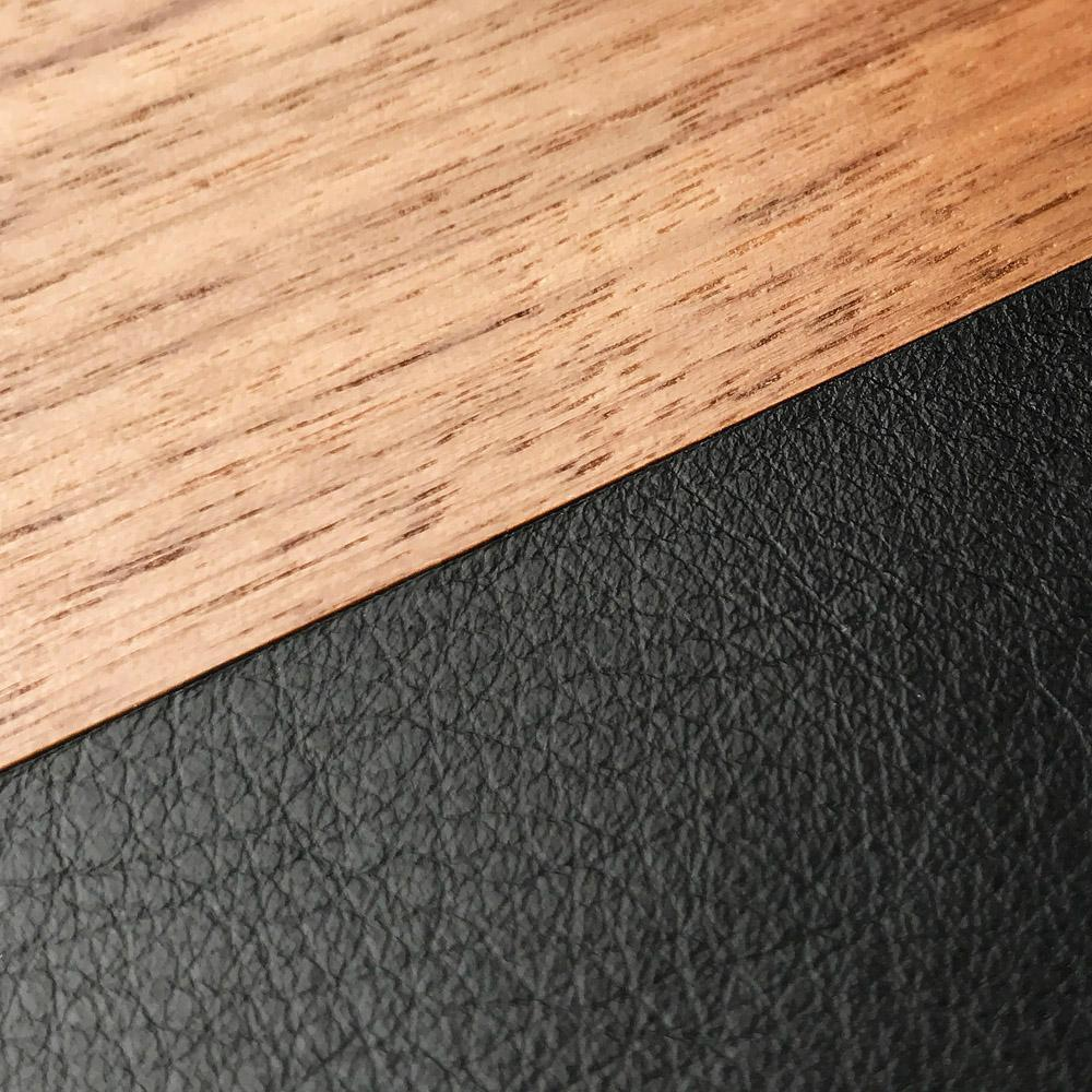 Zoomed in detailed shot of the Walnut Rift Elegant Wood & Leather Galaxy Note 10 Case by Keyway Designs