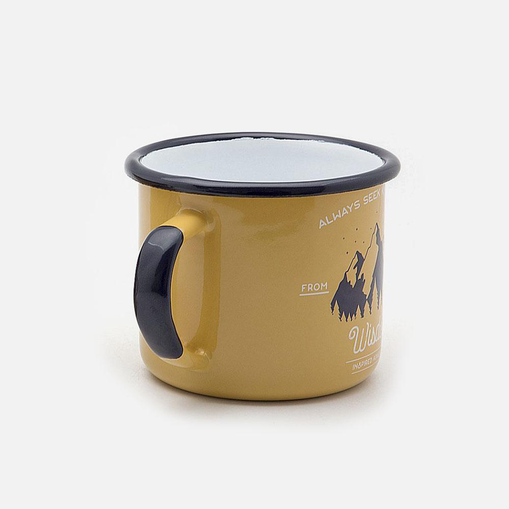 KEYWAY | Emalco - Apricot Wisdom Enamel Mug, Handcrafted by Artisans in Poland, Back View