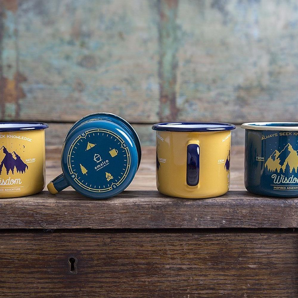 KEYWAY | Emalco - Teal Wisdom Enamel Mug, Handcrafted by Artisans in Poland, Multi-coloured View