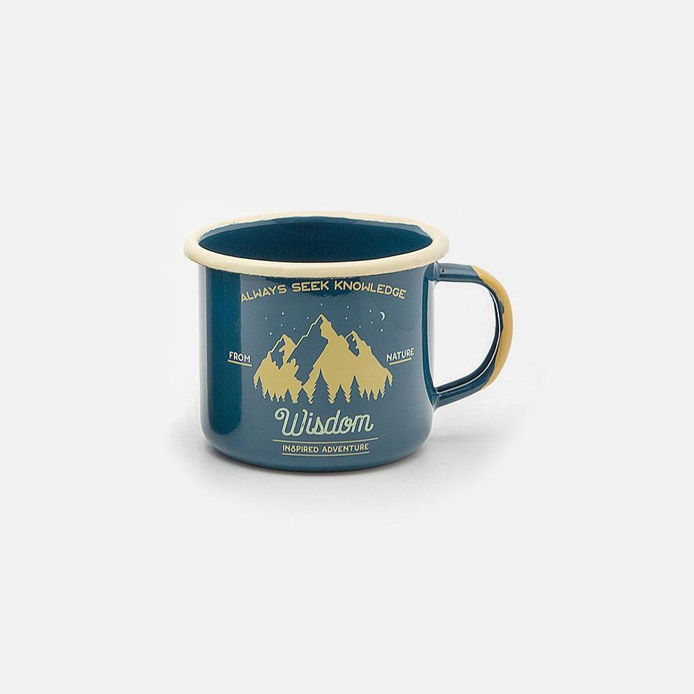 KEYWAY | Emalco - Teal Wisdom Enamel Mug, Handcrafted by Artisans in Poland, Front View
