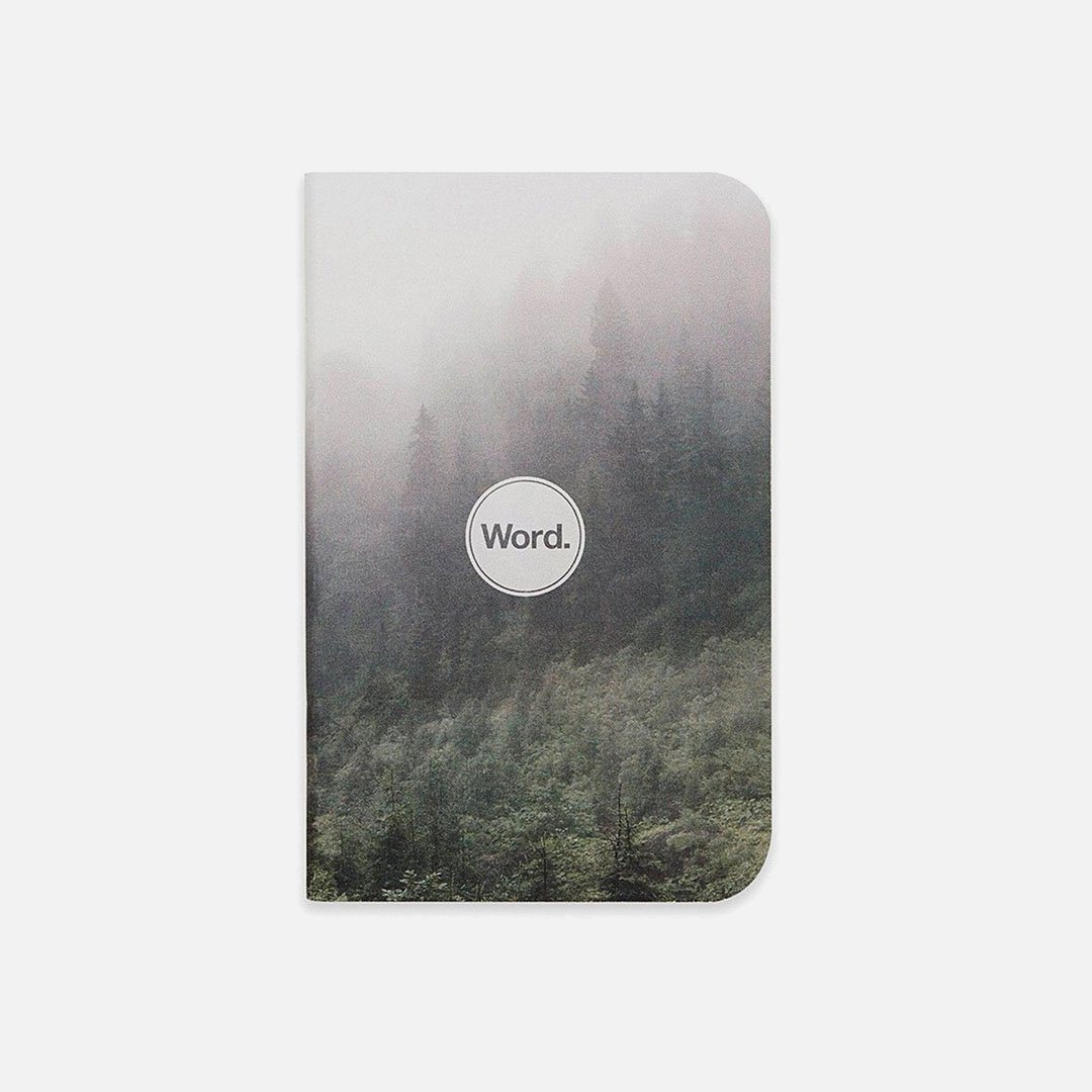 Word. - Mist, USA Made Pocket Notebook, Front View