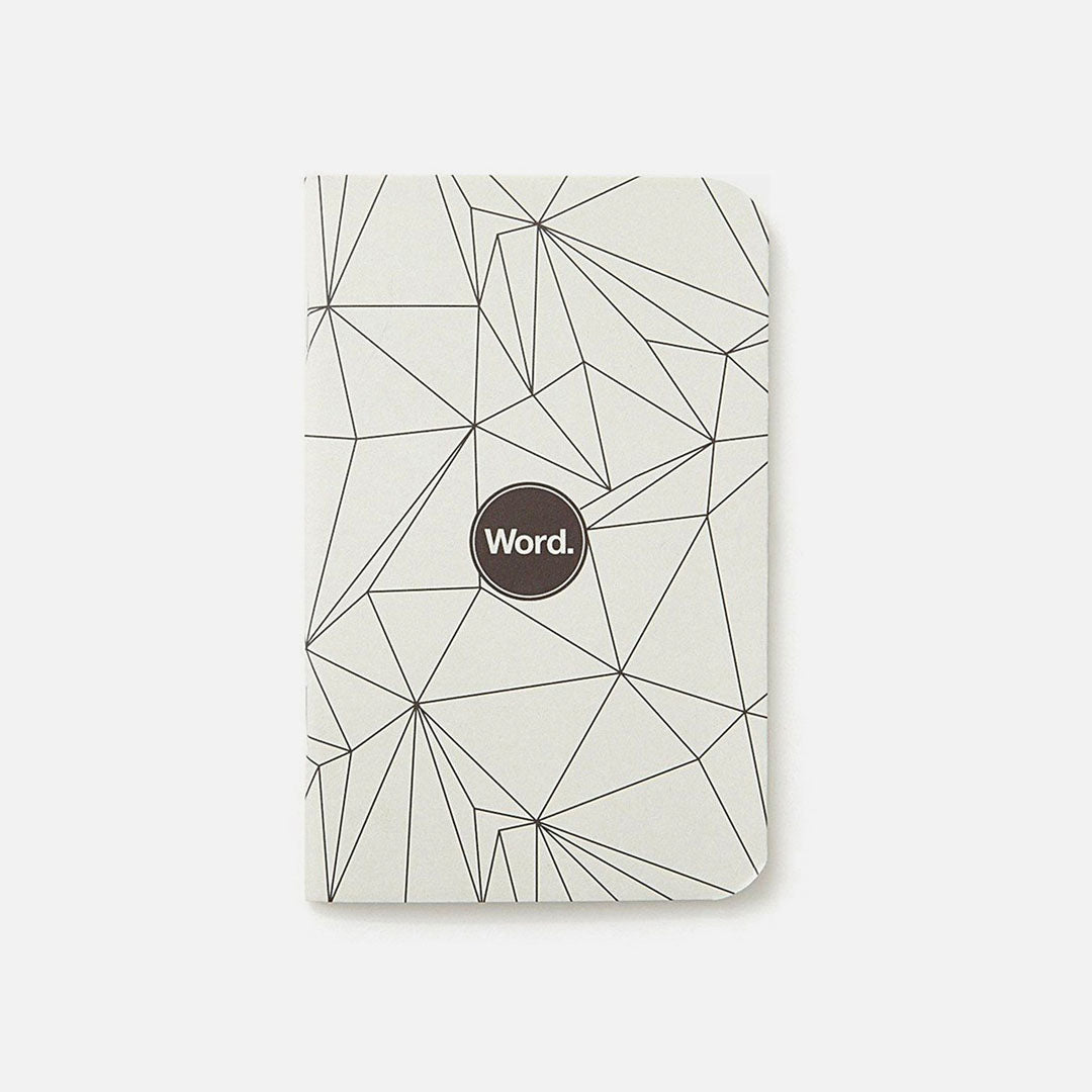 Word. - Grey Polygon, USA Made Pocket Notebook, Front View
