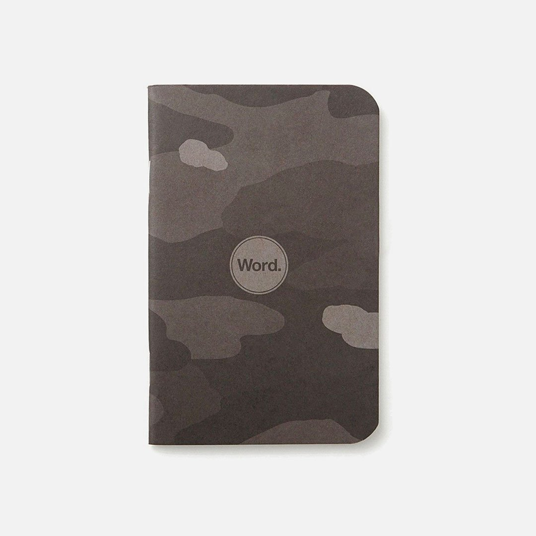 Word. - Stealth Camo, USA Made Pocket Notebook, Front View