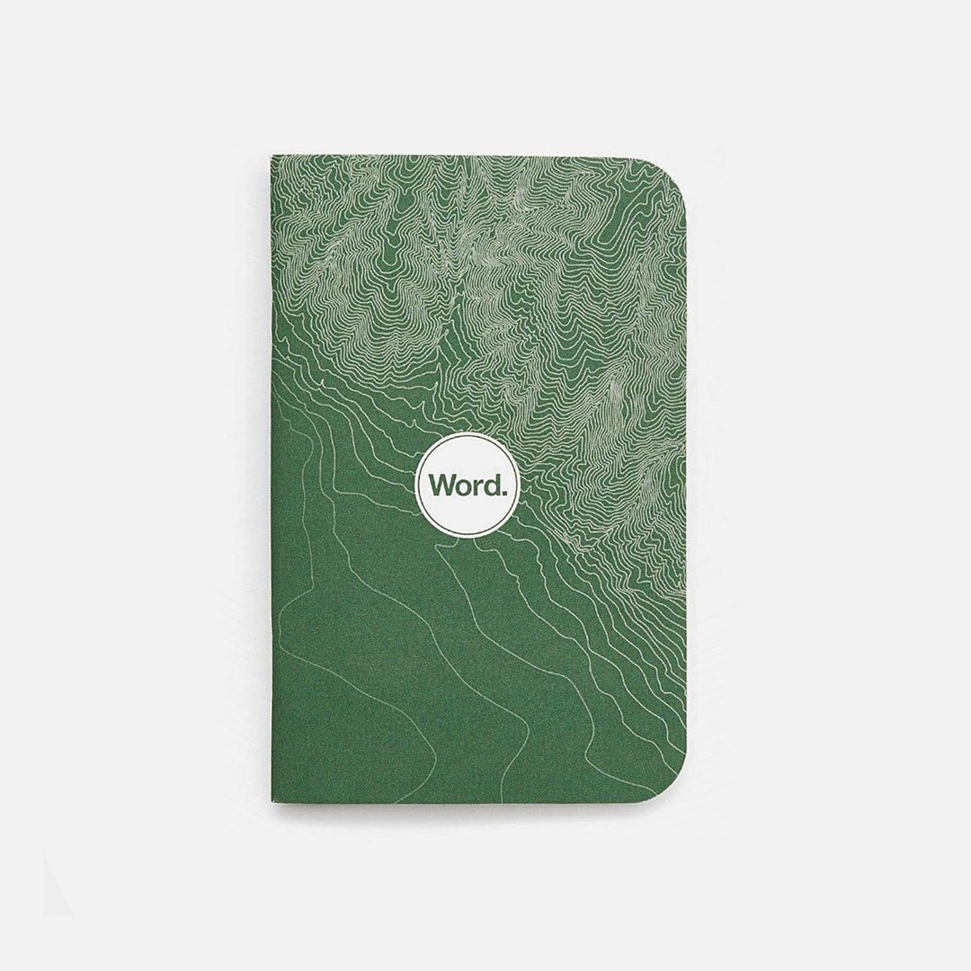 Word. - Green Terrain, USA Made Pocket Notebook, Front View