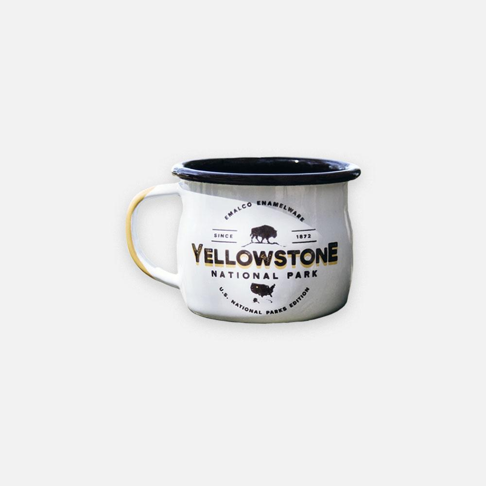 KEYWAY | Emalco - Yellowstone Bellied Enamel Mug, Handcrafted by Artisans in Poland, Front View