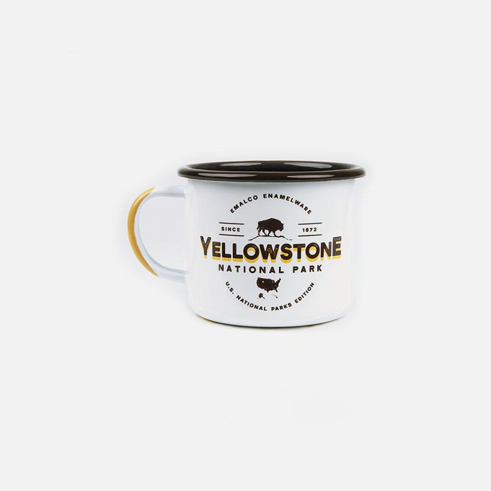 KEYWAY | Emalco - Yellowstone Large Enamel Mug, Handcrafted by Artisans in Poland, Front View