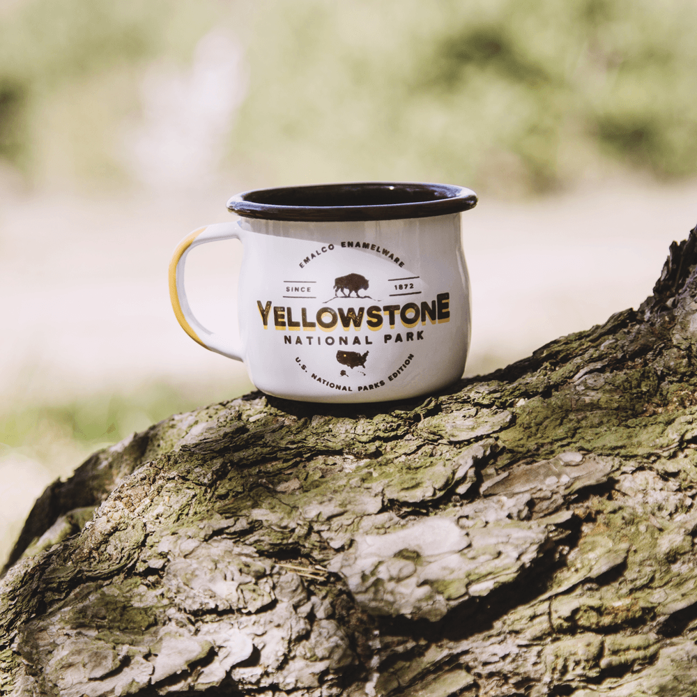KEYWAY | Emalco - Yellowstone Bellied Enamel Mug, Handcrafted by Artisans in Poland, Selection Action Group Shot