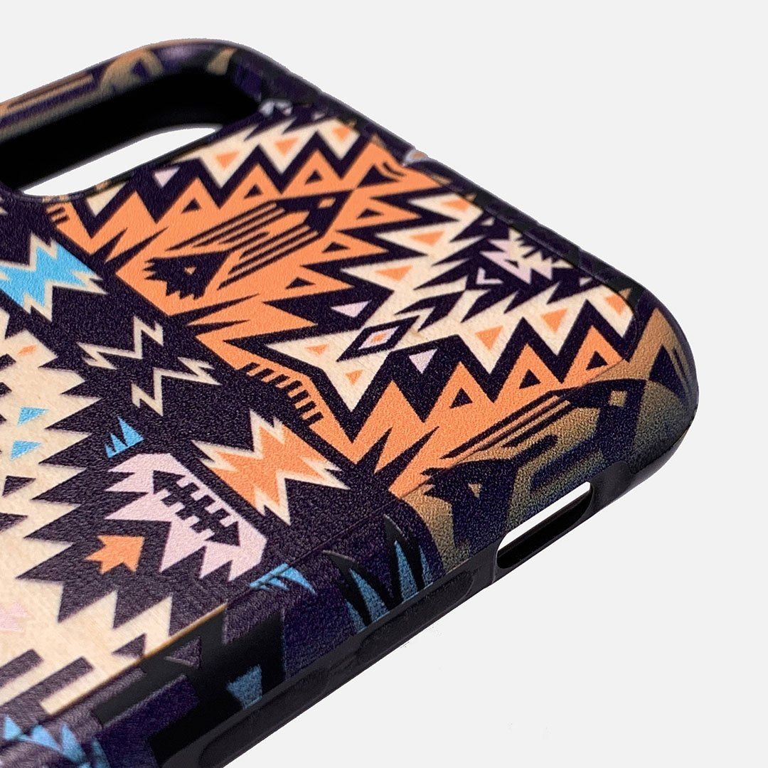 Zoomed in detailed shot of the vibrant Aztec printed Maple Wood iPhone 7/8 Case by Keyway Designs