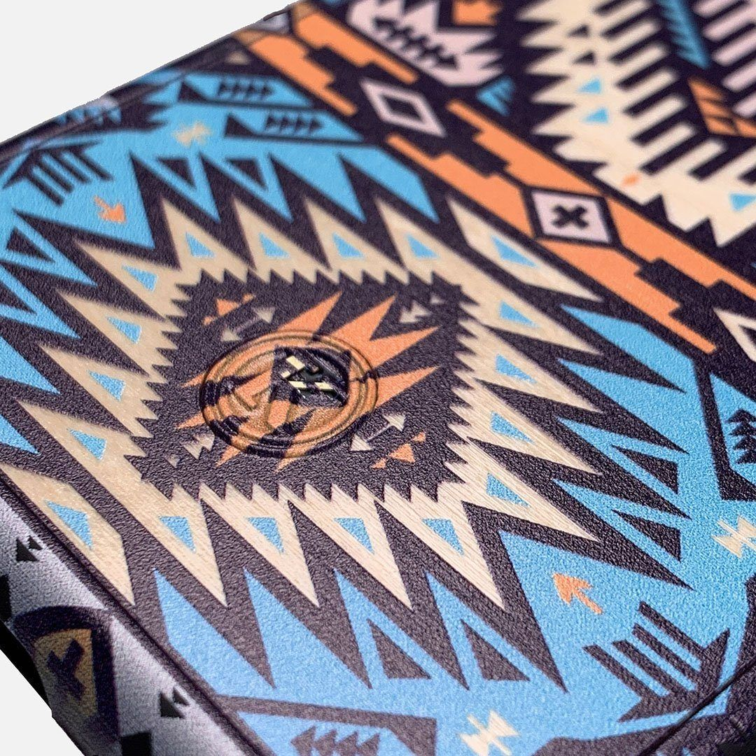 Zoomed in detailed shot of the vibrant Aztec printed Maple Wood iPhone 12 Pro Max Case by Keyway Designs