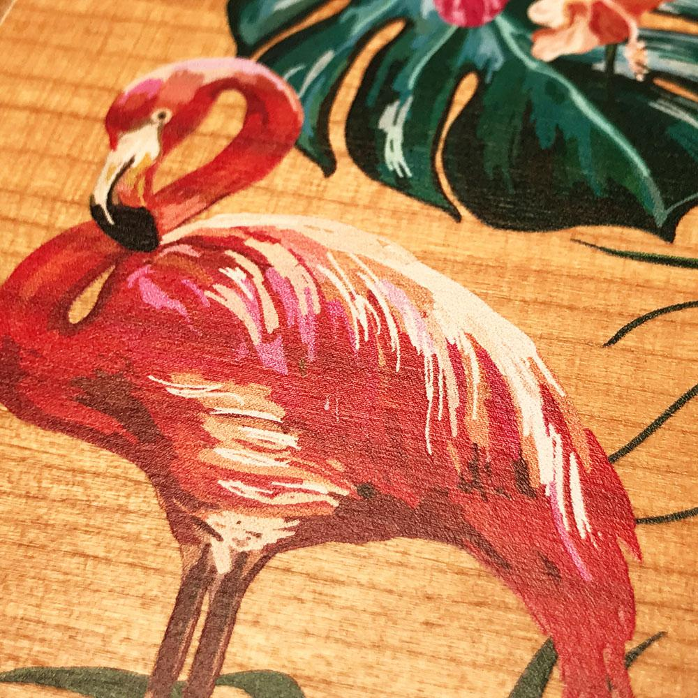 Zoomed in detailed shot of the Flamingo & Floral printed Cherry Wood iPhone 7/8 Plus Case by Keyway Designs