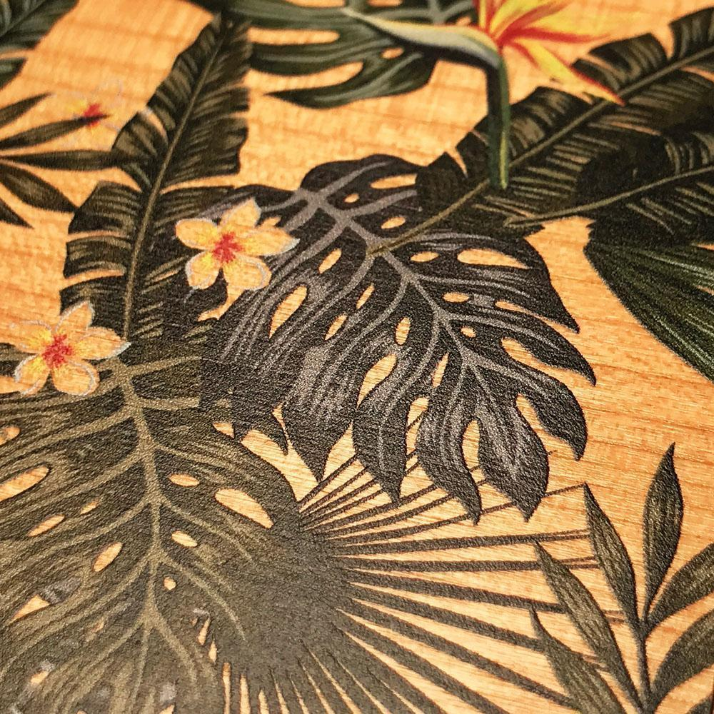 Zoomed in detailed shot of the Floral tropical leaf printed Cherry Wood Galaxy S20 Case by Keyway Designs