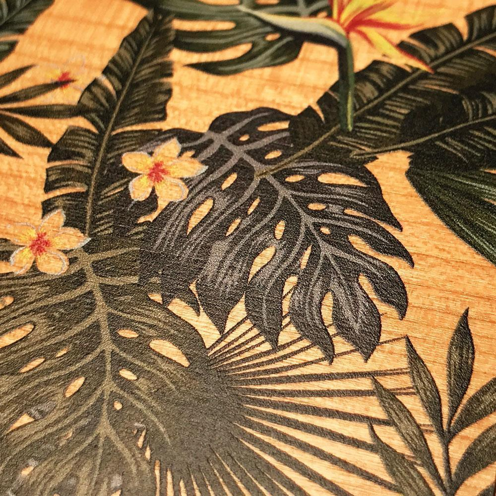 Zoomed in detailed shot of the Floral tropical leaf printed Cherry Wood Galaxy S10 Case by Keyway Designs