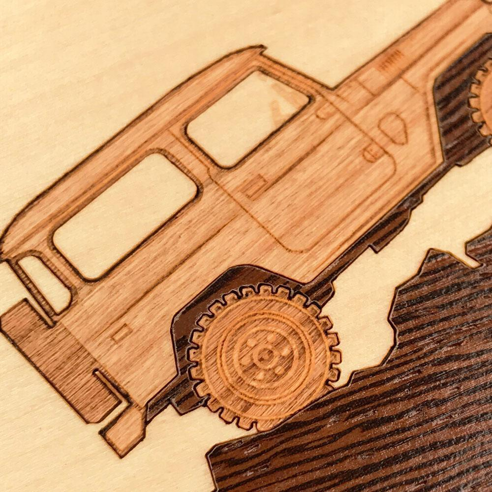 Zoomed in detailed shot of the Off-Road Wood iPhone 11 Case by Keyway Designs