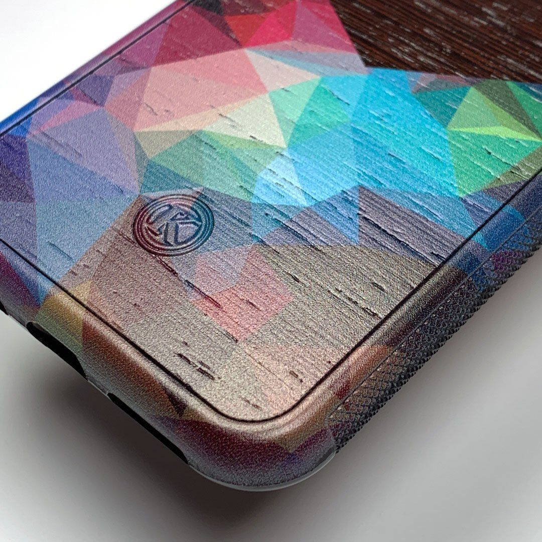 Zoomed in detailed shot of the vibrant Geometric Gradient printed Wenge Wood iPhone 11 Pro Case by Keyway Designs