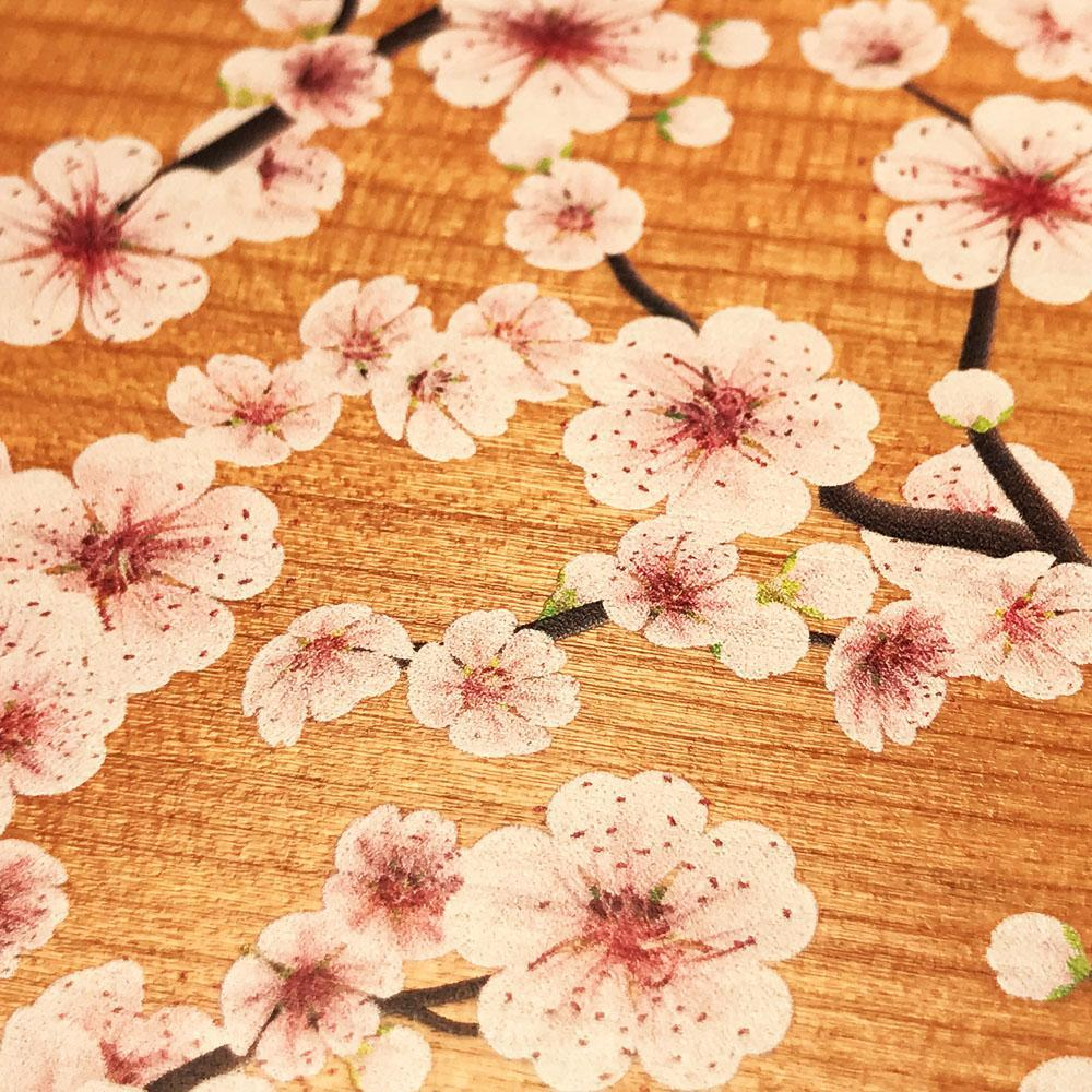 Zoomed in detailed shot of the Sakura Printed Cherry-blossom Cherry Wood iPhone XR Case by Keyway Designs