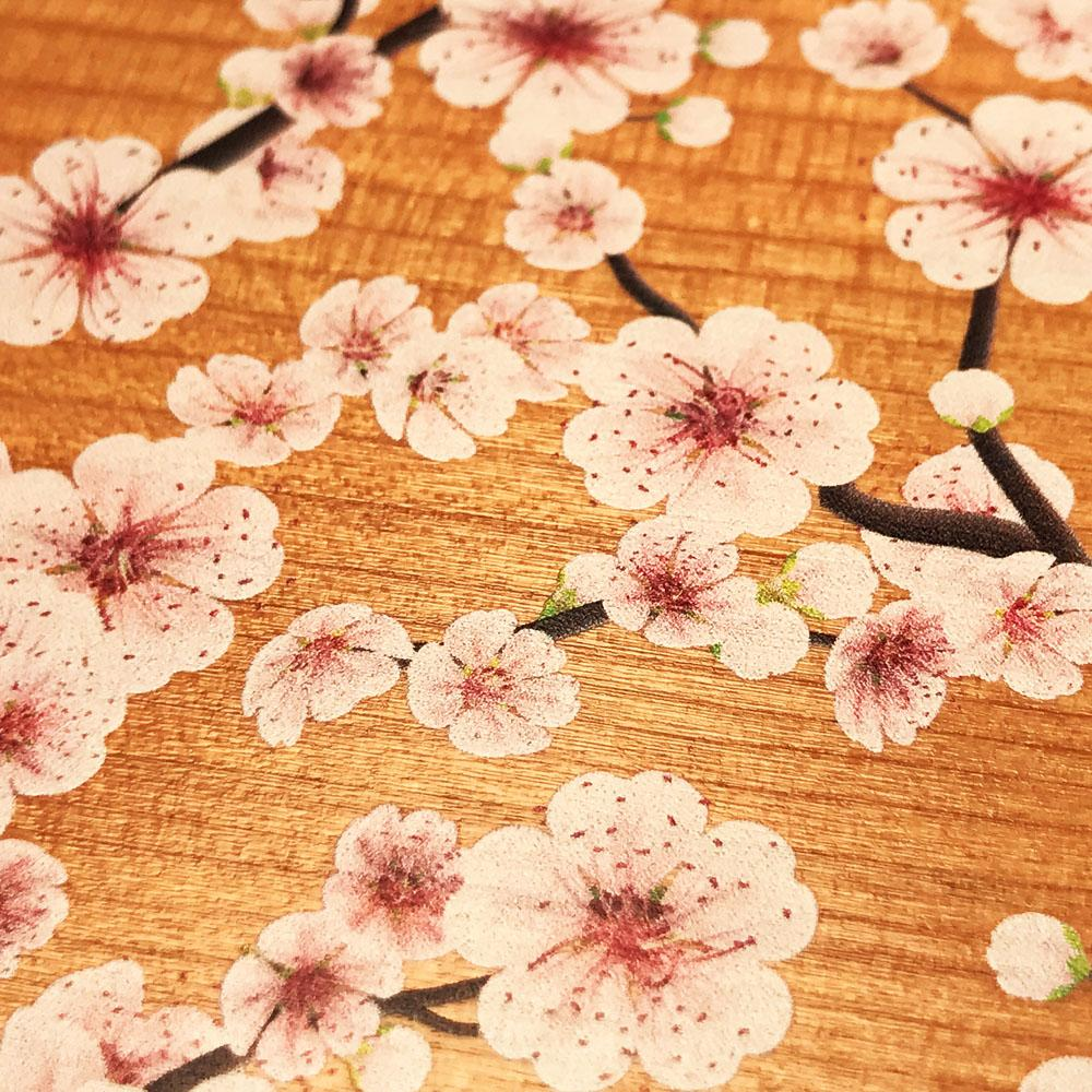 Zoomed in detailed shot of the Sakura Printed Cherry-blossom Cherry Wood iPhone 7/8 Case by Keyway Designs