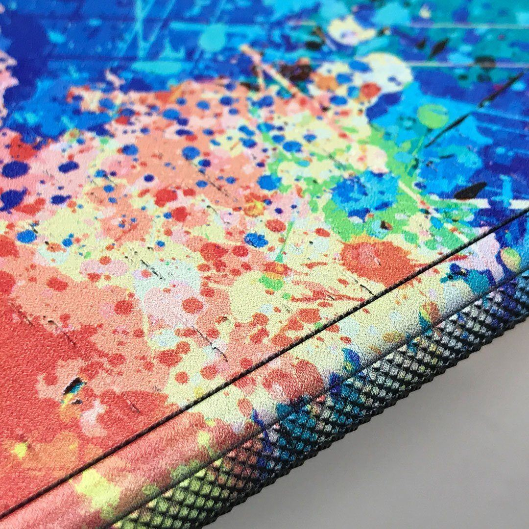 Zoomed in detailed shot of the realistic paint splatter 'Chroma' printed Wenge Wood iPhone 11 Pro Max Case by Keyway Designs