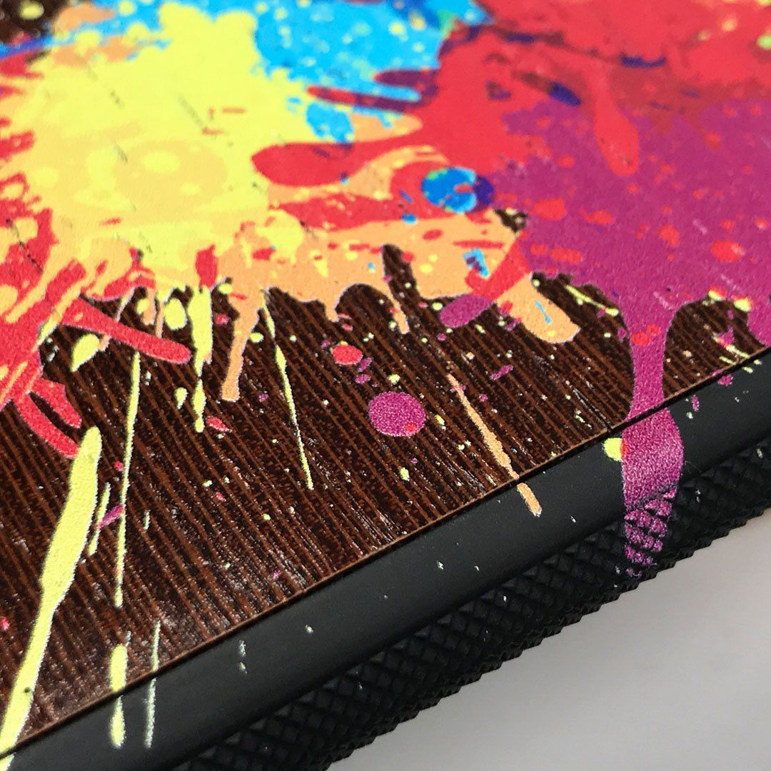 Zoomed in detailed shot of the illustration-style paint drops printed Wenge Wood iPhone XR Case by Keyway Designs