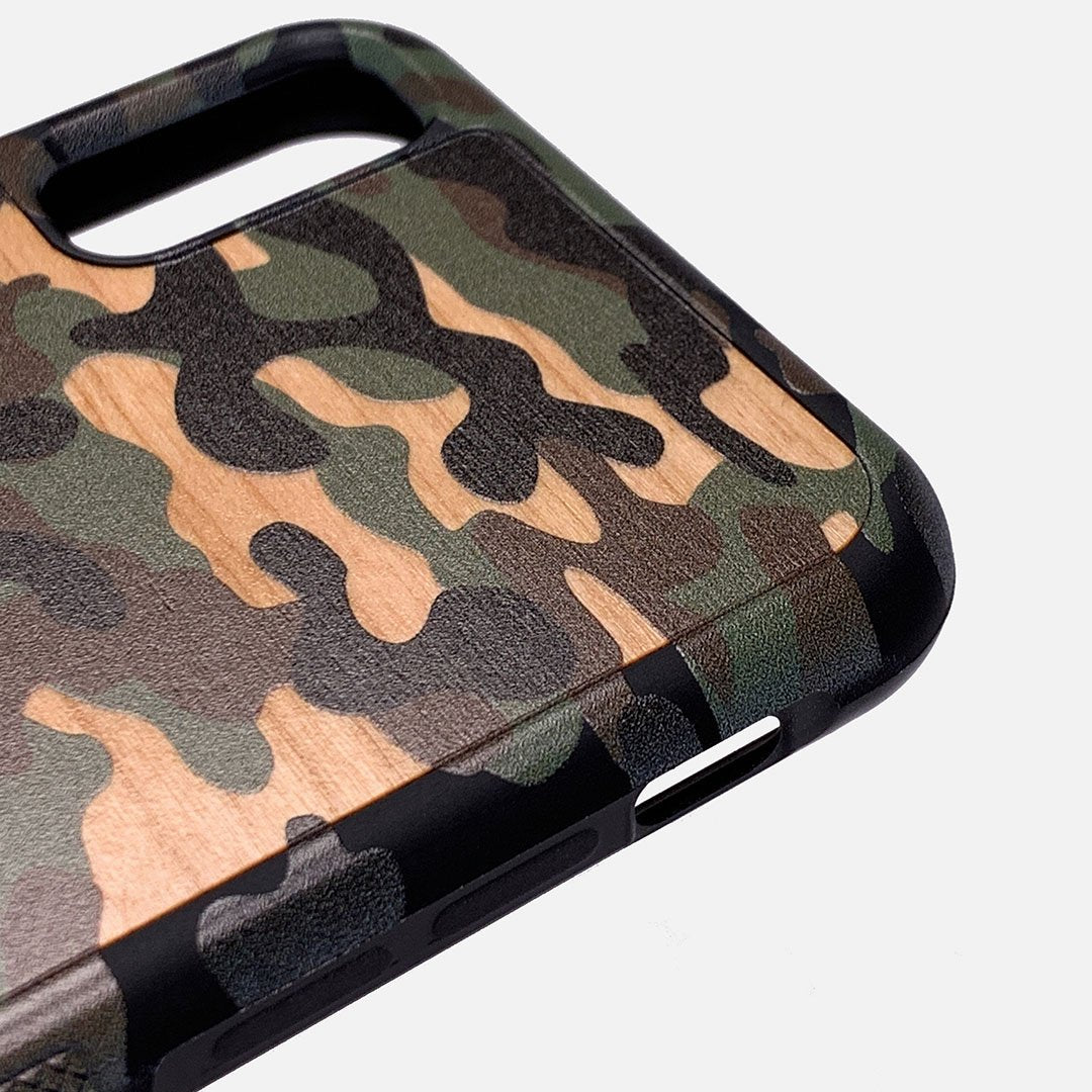 Zoomed in detailed shot of the stealth Paratrooper camo printed Wenge Wood iPhone 11 Pro Case by Keyway Designs