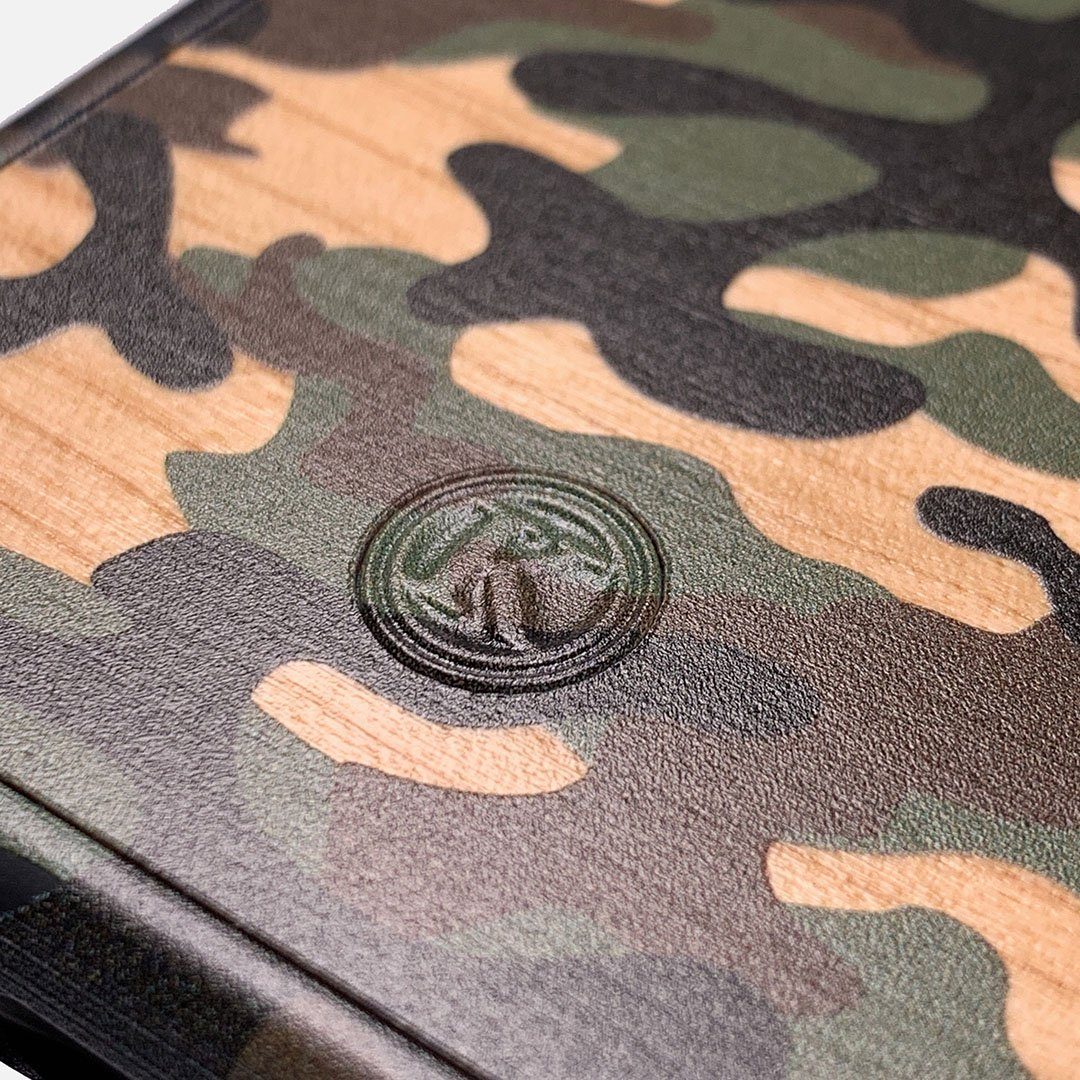 Zoomed in detailed shot of the stealth Paratrooper camo printed Wenge Wood iPhone X Case by Keyway Designs