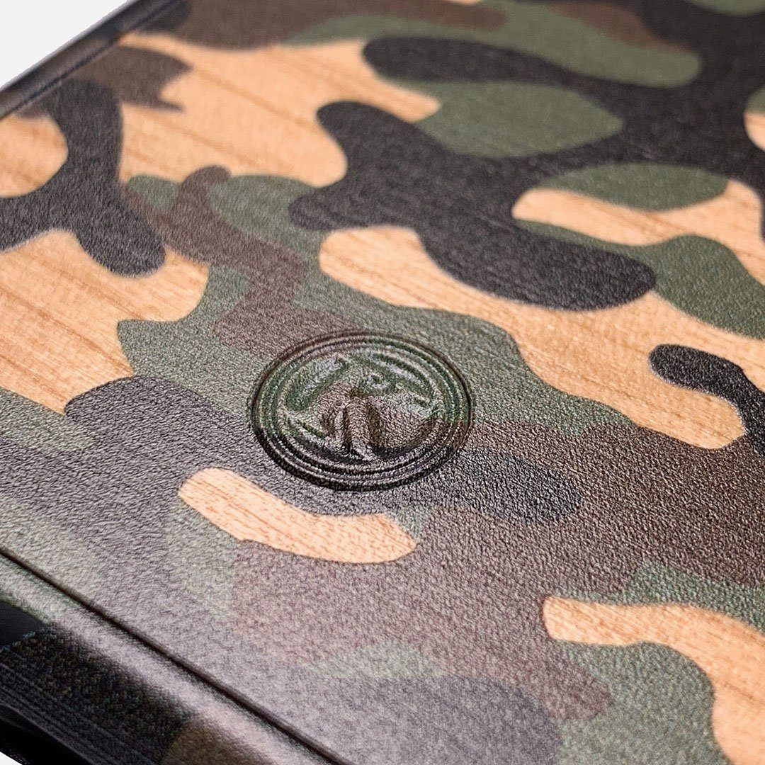 Zoomed in detailed shot of the stealth Paratrooper camo printed Wenge Wood iPhone 12 Mini Case by Keyway Designs