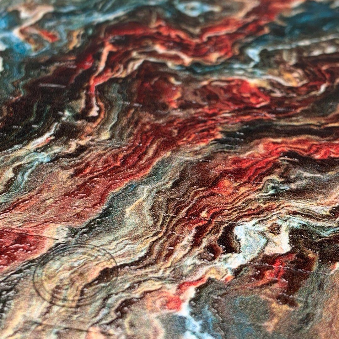 Zoomed in detailed shot of the vibrant and rich Red & Green flowing marble pattern printed Wenge Wood iPhone 7/8 Plus Case by Keyway Designs