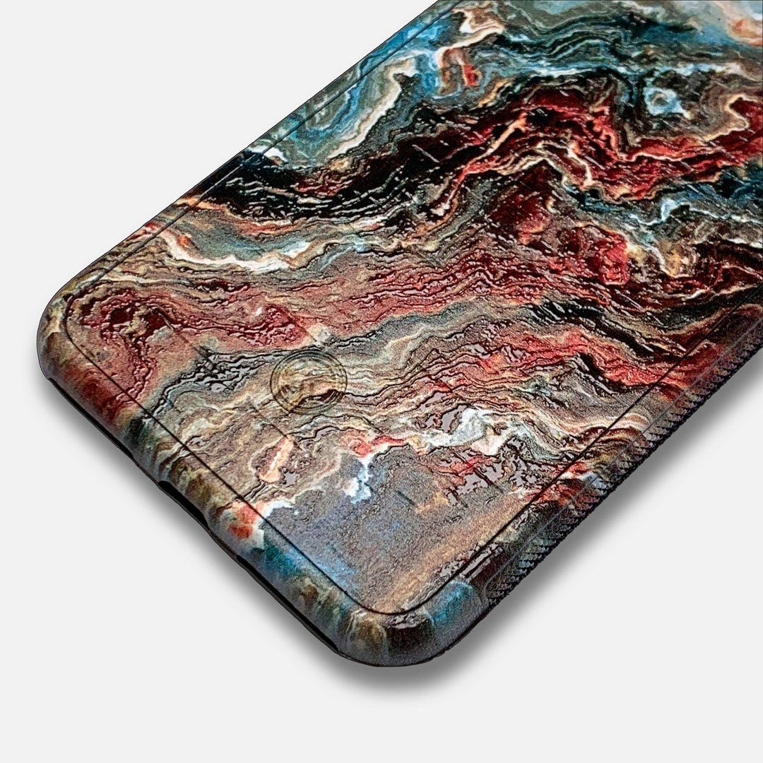 Zoomed in detailed shot of the vibrant and rich Red & Green flowing marble pattern printed Wenge Wood iPhone 7/8 Case by Keyway Designs