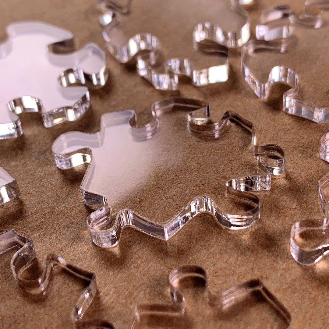 Zoomed in Photo of the high quality Laser cutting in Keyway's Impossible Acrylic Puzzle, the No.127A