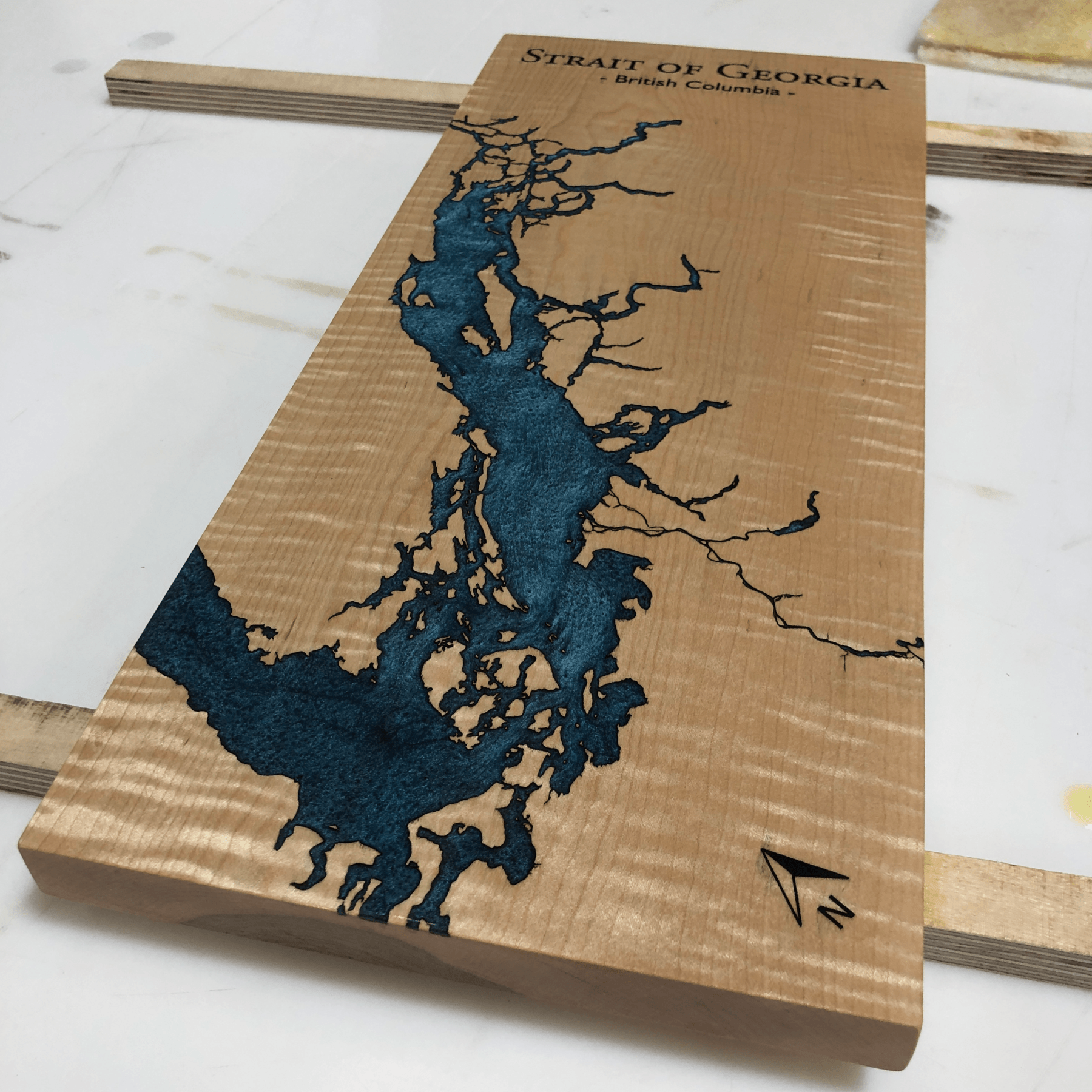 Custom Designed Straight of Georgia Maple and Blue Epoxy Lake Board by Keyway Designs