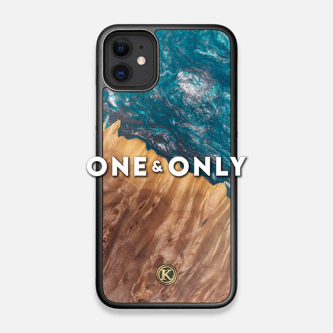 Front view of the One and Only Wood and Resin iPhone 11 Case by Keyway Designs
